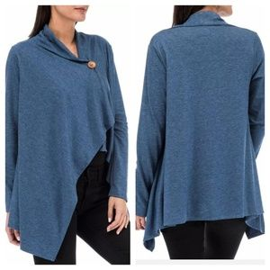 BOBEAU 3X One Button Wrap Cardigan Waterfall Blue